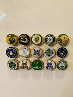 Green Bay Packers Magnets, Milwaukee Brewers Magnets, Milwau