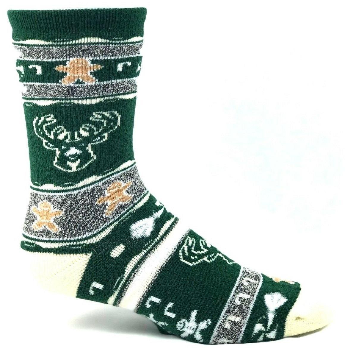 milwaukee bucks basketball green gingerbread holiday socks