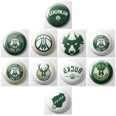 milwaukee bucks nba basketball pinback buttons sports