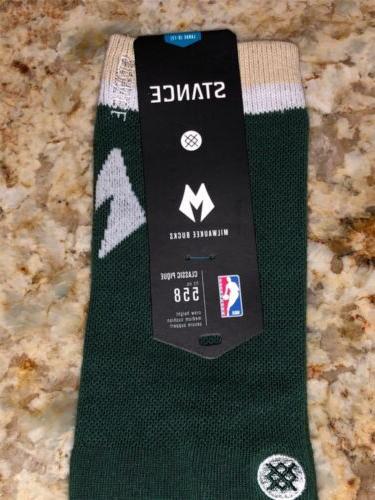 STANCE NBA Milwaukee Bucks Arena Green Casual L 9-12