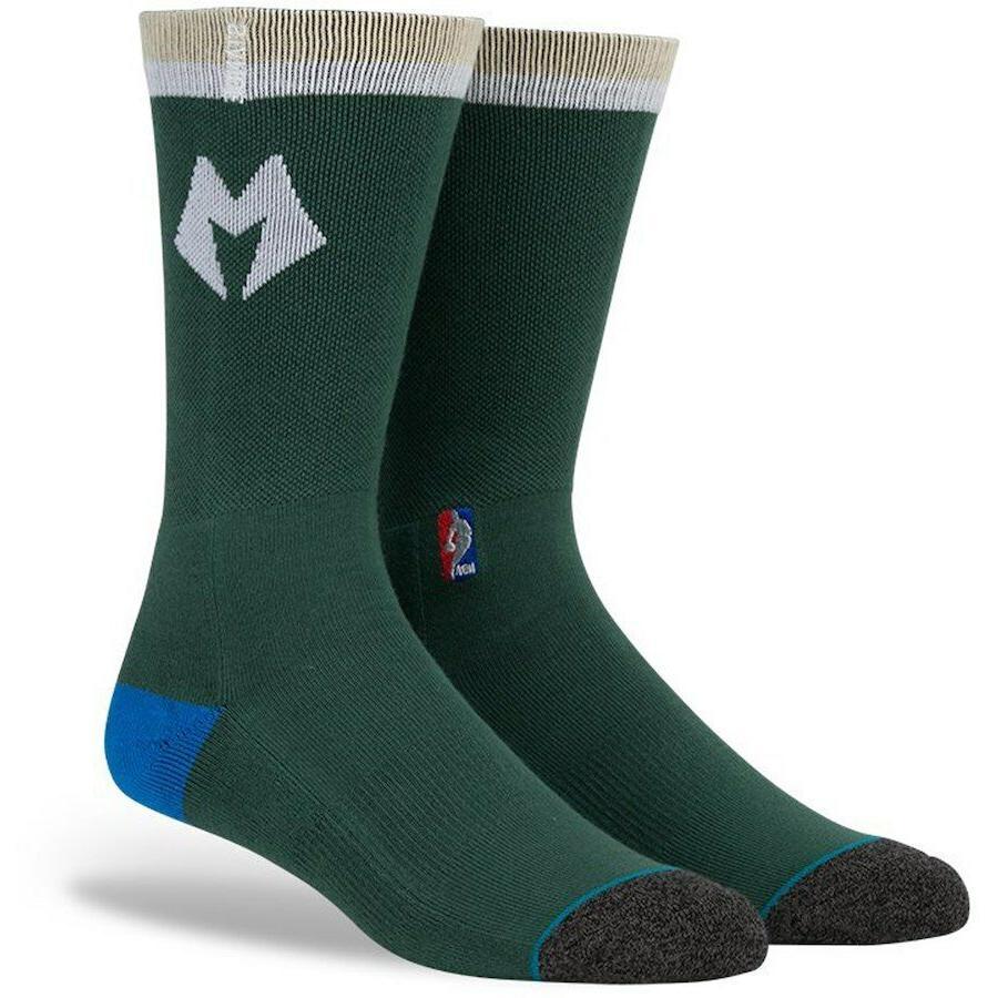 new milwaukee bucks nba basketball crew socks