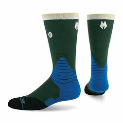 Stance Men's Fusion Basketball Socks NBA Logo Crew Milwaukee