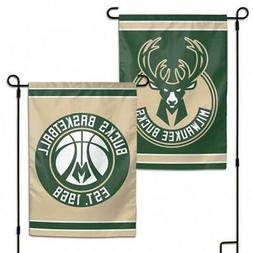 "Milwaukee Bucks 2 Sided 12.5"" x 18"" Garden Flag  NBA Banner"