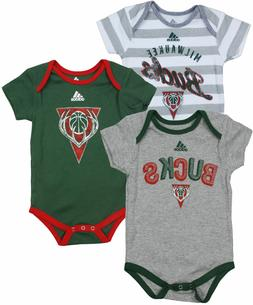 Milwaukee Bucks 3pc Creeper Set Infant Baby