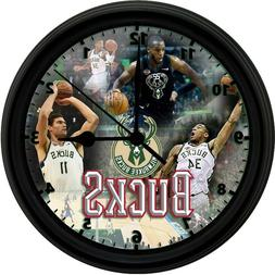 MILWAUKEE BUCKS, 8in. Unique Homemade Wall Clock, Battery In