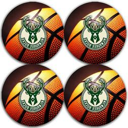 Milwaukee Bucks Basketball Rubber Round Coaster set  / RNDRB