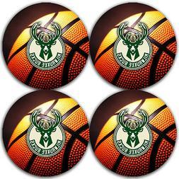 Milwaukee Bucks Basketball Rubber Round Coaster set  / RNDRB
