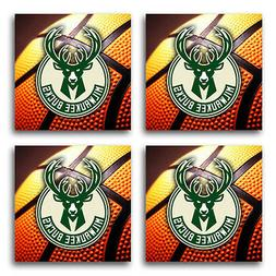 Milwaukee Bucks Basketball Rubber Square Coaster set  SRC204