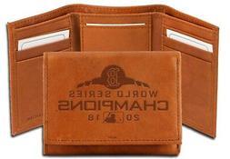 Milwaukee Bucks Brown Leather Embossed Trifold Wallet Basket