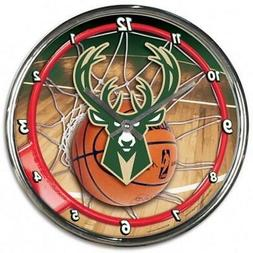 Milwaukee Bucks Chrome Round Wall Clock  NBA Sign Banner Off