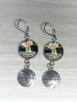 Milwaukee Bucks Sterling Silver Earrings made from Recycled