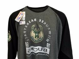 Milwaukee Bucks Majestic Gray & Black 3/4 Sleeve Shirt Big a