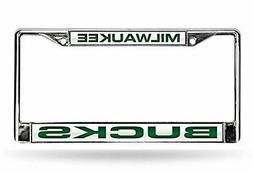 Milwaukee Bucks LASER FRAME Chrome Metal License Plate Tag C