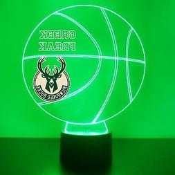 Milwaukee Bucks Night Light Personalized FREE NBA Basketball