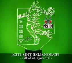 Milwaukee Bucks Night Light, Personalized FREE, Basketball L