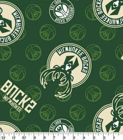 Milwaukee Bucks Logo Toss Printed Cotton Fabric By The Yard