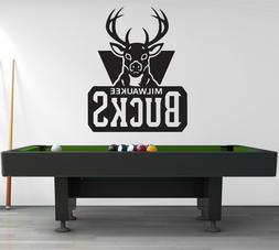 Milwaukee Bucks Logo Wall Decal Sport Sticker Decor Black Vi