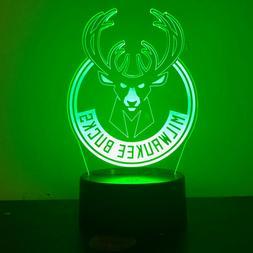 MILWAUKEE BUCKS NBA BASKETBALL 3D Acrylic LED 7 Colour Night