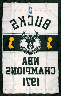 Milwaukee Bucks NBA Championship Flag 3x5 ft Vertical Sports