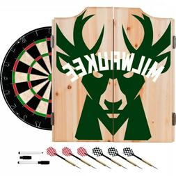 Milwaukee Bucks NBA Dartboard Cabinet Set Includes 6 Steel T