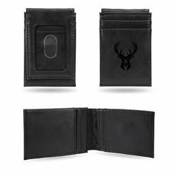 Milwaukee Bucks NBA Laser Engraved Black Front Pocket Wallet
