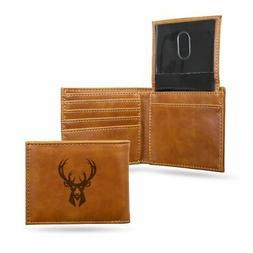 Milwaukee Bucks NBA Laser Engraved Brown Billfold Wallet