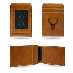 Milwaukee Bucks NBA Laser Engraved Brown Front Pocket Wallet