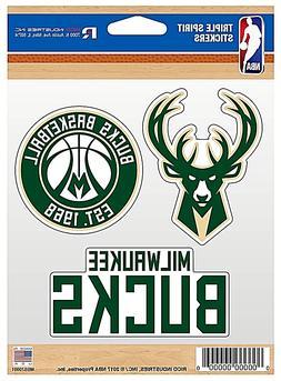 Milwaukee Bucks NBA Triple Spirit Stickers / Decals  3 Pack