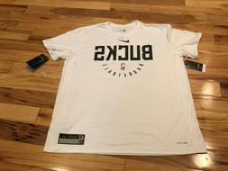 Nike Milwaukee Bucks Practice Shirt Dri-Fit T-Shirt White AR