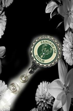 Milwaukee Bucks Retractable Reel ID Badge Holder nurse Dr se