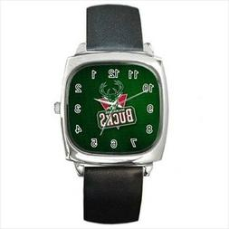 Milwaukee Bucks Round & Square Leather Strap Watch - Basketb