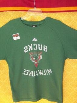 Milwaukee Bucks SHIRT Distressed GREEN Thermal Boys Long Sle