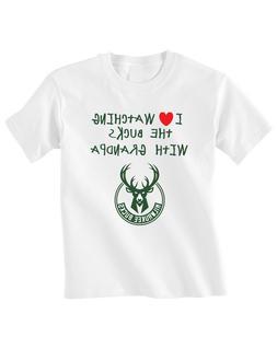 Milwaukee Bucks Toddler T-Shirt Love Watching With Grandpa