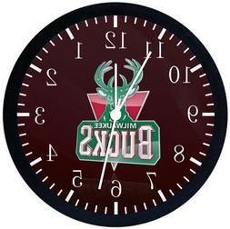 Milwaukee Bucks Black Frame Wall Clock Nice For Decor or Gif