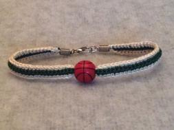 Milwaukee Bucks Women's Cream & Green Handmade Bracelet W/ A