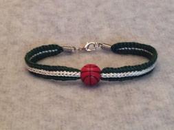Milwaukee Bucks Women's Green & Cream Handmade Bracelet W/ A