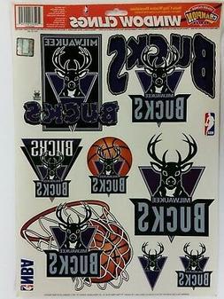 "NBA Milwaukee Bucks 11"" x 17"" Sheet of Window Clings, NEW"