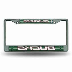 NBA Milwaukee Bucks Bling Chrome License Plate Frame with Gl