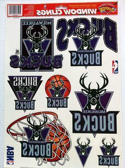 "NBA Milwaukee Bucks Car Window Cling 11"" x 17"" Sheet of 10 C"