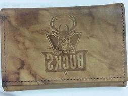 NBA Milwaukee Bucks Tri-Fold Leather Wallet, New