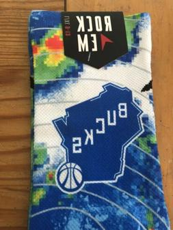 NBA Milwaukee Bucks Rock Em Weather Radar Socks L/XL 9-13