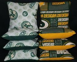 Set Of 8 Green Bay Packers Milwaukee Bucks Cornhole Bean Bag
