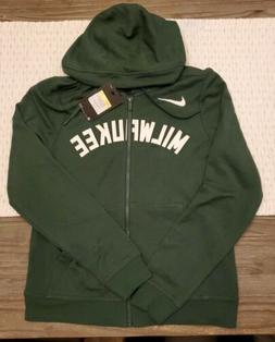 Women's Milwaukee Bucks Nike Hunter Green Wordmark Full-Zip